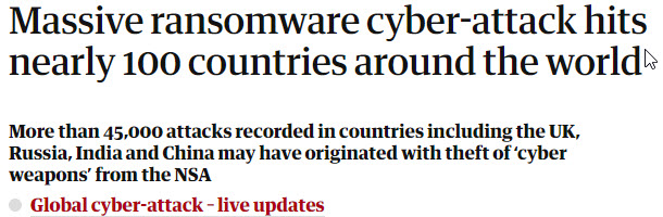 Massive ransomware cyber-attack hits nearly 100 countries around the world